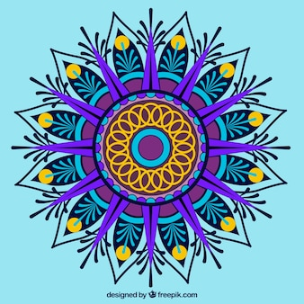 파란색 바탕에 여러 가지 빛깔의 만다라