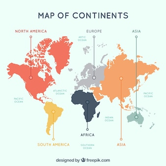 multicolor map of continents