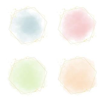 Разноцветные пастельные акварельные всплески с золотой рамкой и блеском