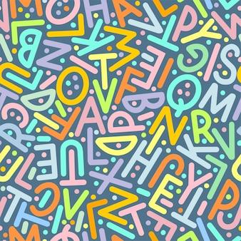 Многоцветный узор из букв английского алфавита. векторная иллюстрация.