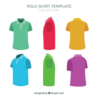 Multicolor polo shirt template collection