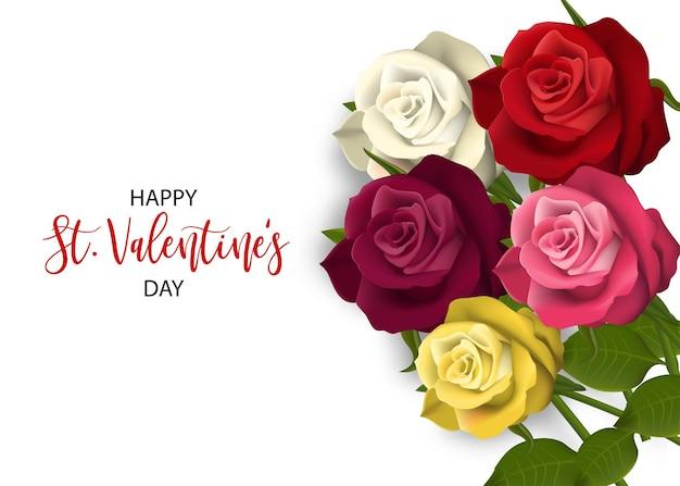 マルチカラーリアルな赤いバラ聖バレンタインデーカード愛の花の花束バレンタインバナーフレーム