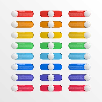 Multicolor round switch interface buttons with text boxes