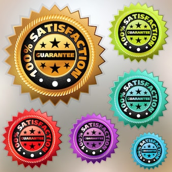 Multicolor satisfaction labels set.