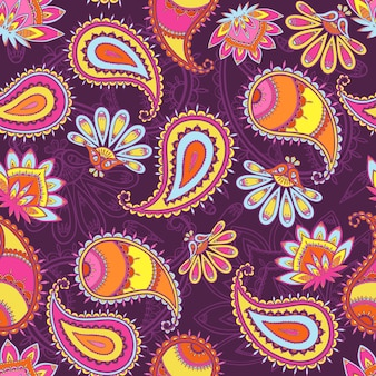 Multicolor seamless paisley pattern.