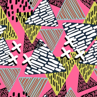 Multicolor seamless pattern of triangle geometric background