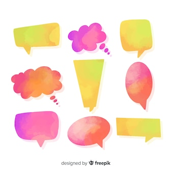 Multicolor speech bubbles watercolored with shapes diversity