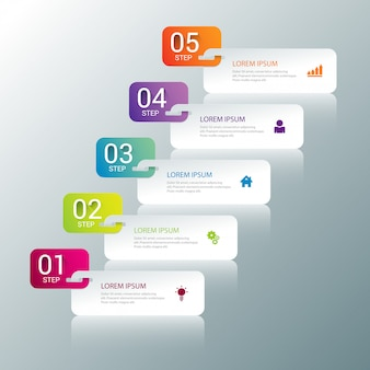 Multicolor steps process infographics template