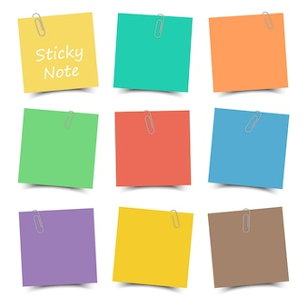 Multicolor sticky note with paper clip and shadow . flat color . white isolated background .