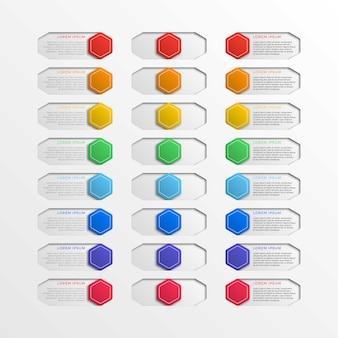Multicolor switch interface hexagonal buttons with text boxes