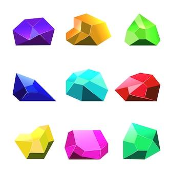Многоцветные векторные кристаллы белый фон для мобильных игр
