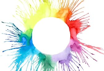 Multicolor watercolor blobs splash hand sketch vector