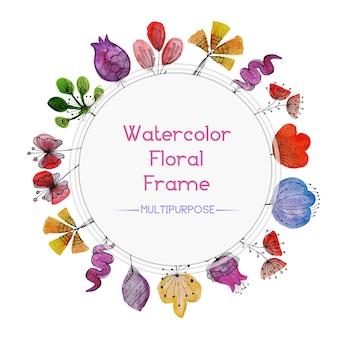 Cornice floreale multicolore acquerello