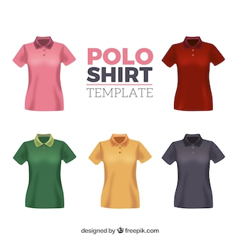 Multicolor woman polo shirt template