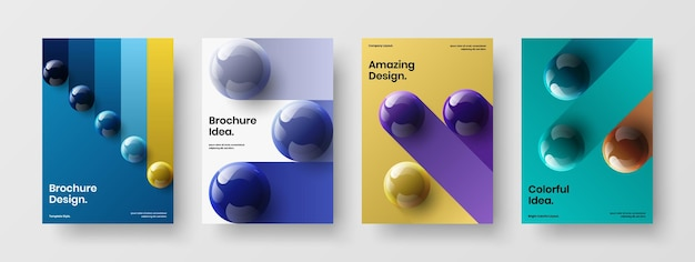 Multicolored 3d balls annual report layout set