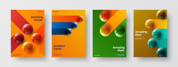 Multicolored 3d balls brochure concept set