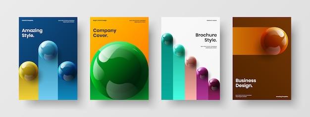 여러 가지 빛깔의 3d 공 전면 페이지 개념 컬렉션