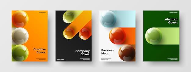 여러 가지 빛깔의 3d 공 저널 표지 개념 구성