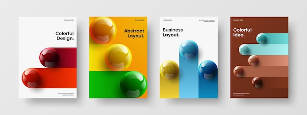 Multicolored 3d spheres handbill concept composition