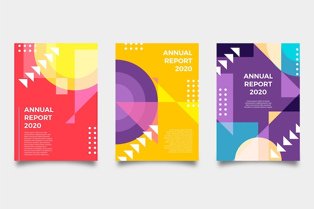 Multicolored abstract annual report template