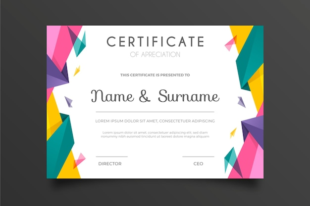 Multicolored abstract geometric certificate template