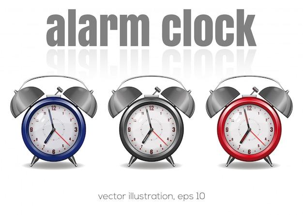 白の背景、イラストに色とりどりの目覚まし時計