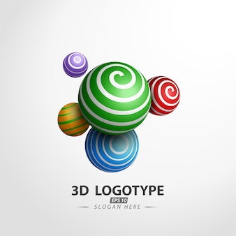 Multicolored decorative ball logotype
