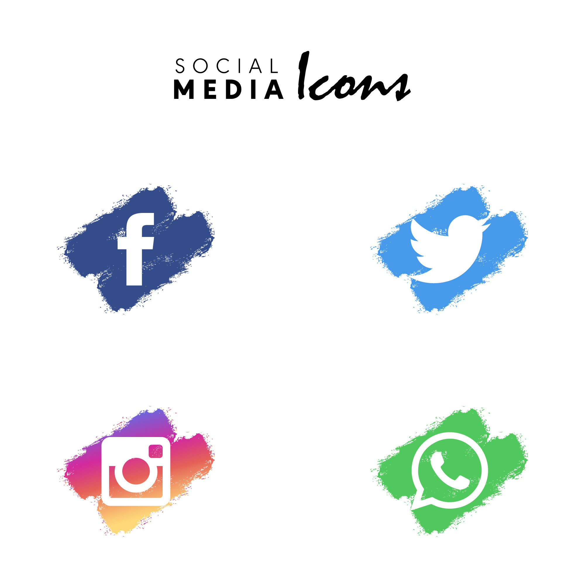 Multicolored dry brush social media icon set collection