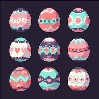 Multicolored easter day egg collection