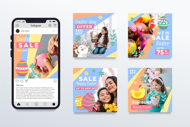 Multicolored easter day instagram post collection