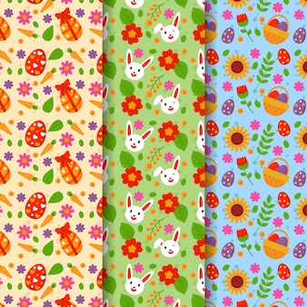 Multicolored easter day pattern collection