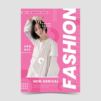 Multicolored fashion poster with photo