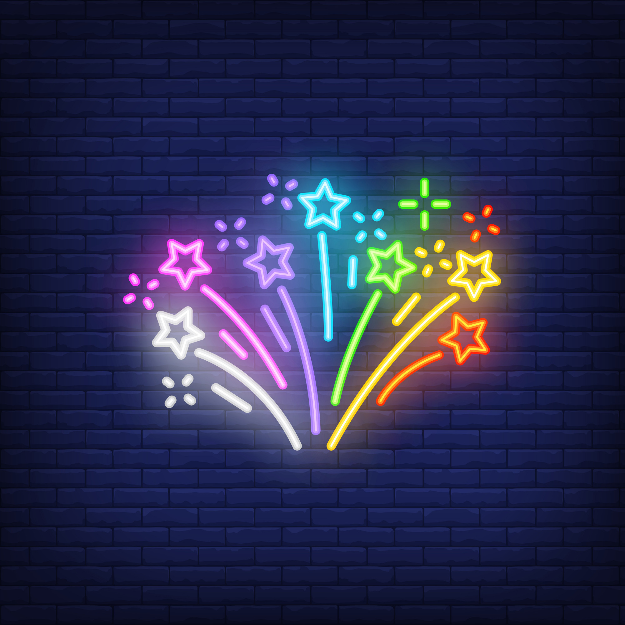Multicolored firework on brick background. Neon style