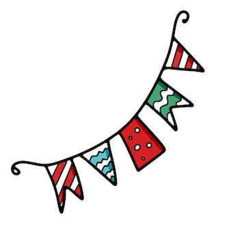 밧줄에 파티 또는 생일을 위한 여러 가지 빛깔의 깃발
