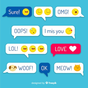 Multicolored flat design messages with emojis