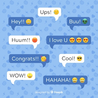Multicolored flat design speech bubbles with emojis along expressions