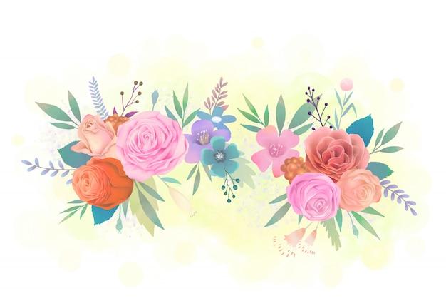 여러 가지 빛깔의 꽃 수채화 그림