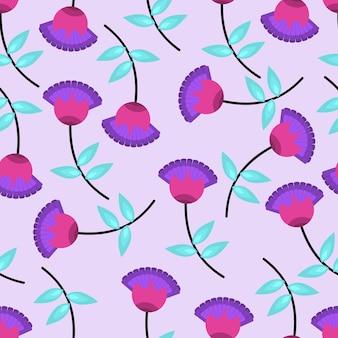 여러 가지 빛깔의 꽃 패턴입니다. 평면 벡터 일러스트 레이 션.