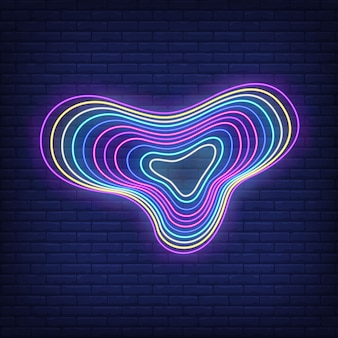 Multicolored flowing figure in neon style
