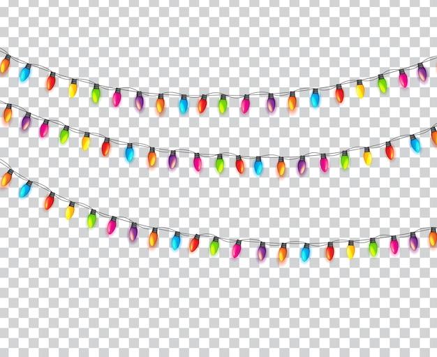 Разноцветные гирлянды лампы праздничные, изолированные на прозрачном фоне