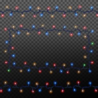 クリスマスライトと色とりどりのガーランド。お祭りの装飾要素。