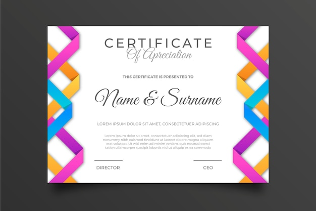 Multicolored geometric certificate template