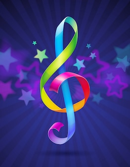 Multicolored glossy ribbons in the shape of treble clef -   illustration