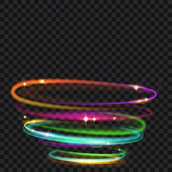 Multicolored glowing fire rings with glitter. light effects