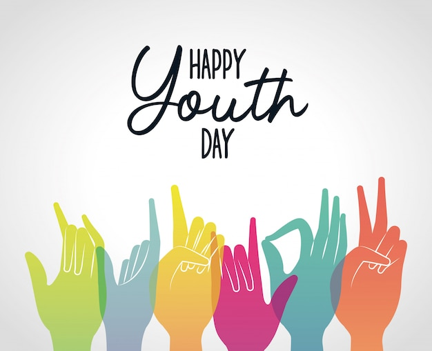 Multicolored gradient hands of happy youth day , young holiday and friendship theme  illustration