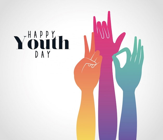 Multicolored gradient hands up of happy youth day