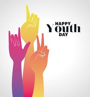 Разноцветный градиент руки вверх счастливого дня молодежи