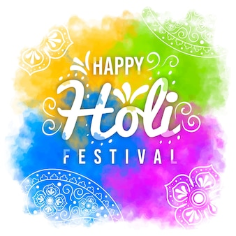 色とりどりの手描きのホーリー祭