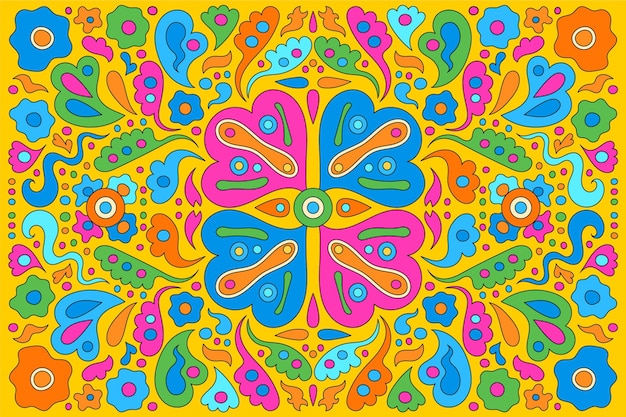 Multicolored hand drawn psychedelic groovy background