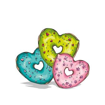 色とりどりのハート型のドーナツ。愛とバレンタインデー。はがきやポスター、スタイリッシュなtシャツのプリントのベクトルイラスト。レタリング。